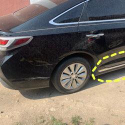 Накладка порога правая с хромом Hyundai Sonata LF hybrid 2014-17